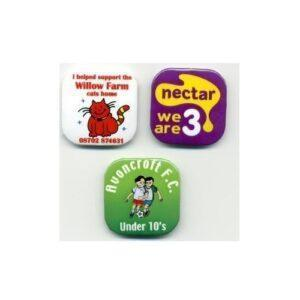 Branded 32mm Square Button Badges