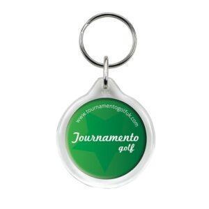 Branded I1 Circular Plastic Keyring