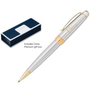 Engraved Cross Bailey Chrome & Gold Ball Pen