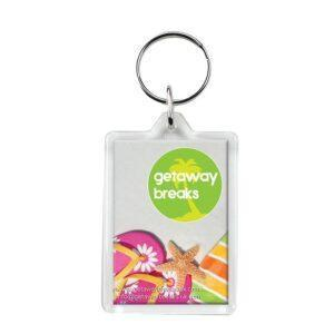 Branded Large Rectangle Plastic Keyring