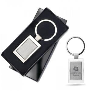 Branded Rectangular Metal Keyring